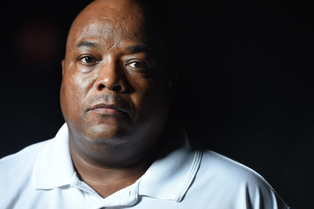 POCOMOKE CITY, MD - JULY 13: Former Pocomoke City police chief, Kelvin Sewell poses for a portrait on Monday July 13, 2015 in Pocomoke City, MD. Sewell claims he was fired because he would not fire two police officers after they had filed EEOC complaints. (Photo by Matt McClain/The Washington Post)