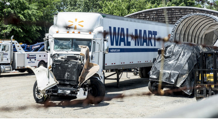 A Wal-Mart truck that allegedly struck the vehicle of Tracy Morgan, an actor and comedian, in Cranbury, N.J., June 7, 2014. Morgan was critically injured early on Saturday after the limousine bus in which he was riding was hit by a tractor-trailer in a fatal six-vehicle accident on the New Jersey Turnpike, the State Police said. (Robert Stolarik/The New York Times)